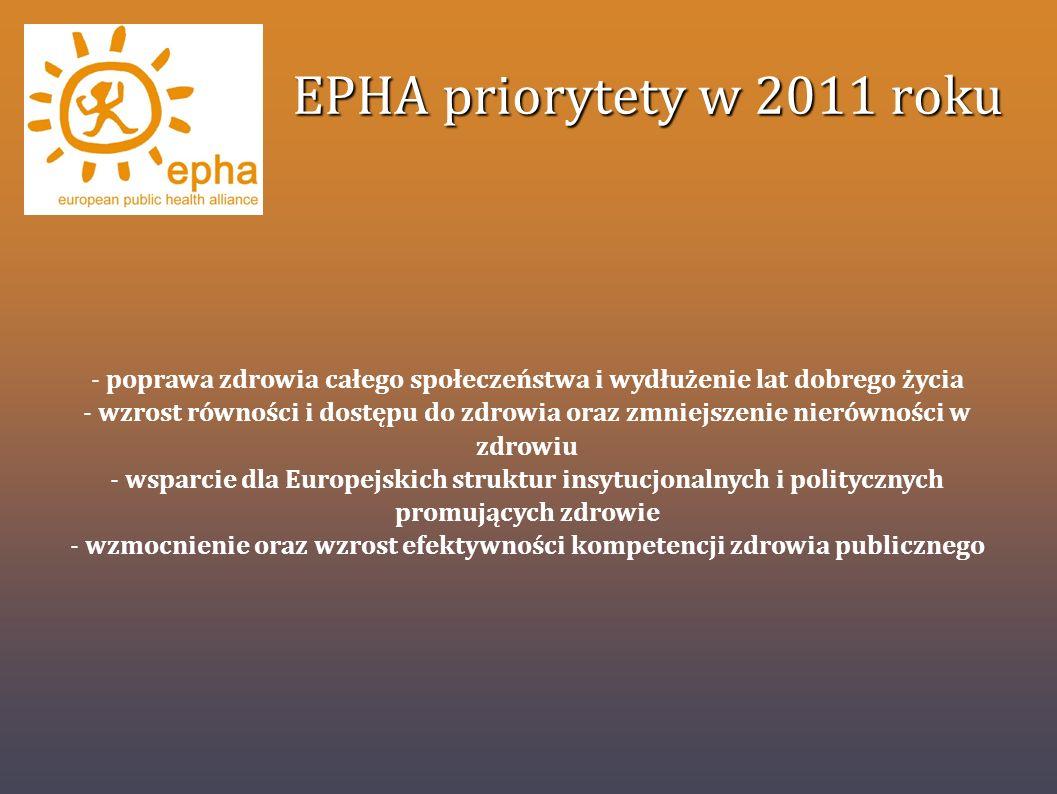 EPHA priorytety w 2011 roku poprawa zdrowia całego społeczeństwa i wydłużenie lat dobrego życia.
