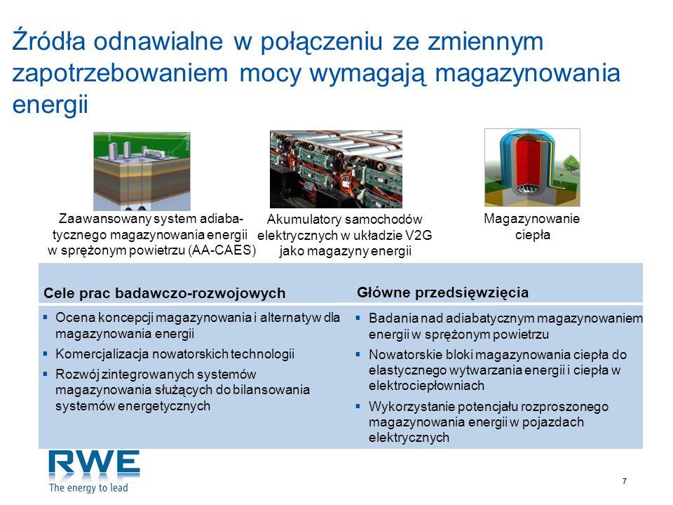 Źródła odnawialne w połączeniu ze zmiennym zapotrzebowaniem mocy wymagają magazynowania energii