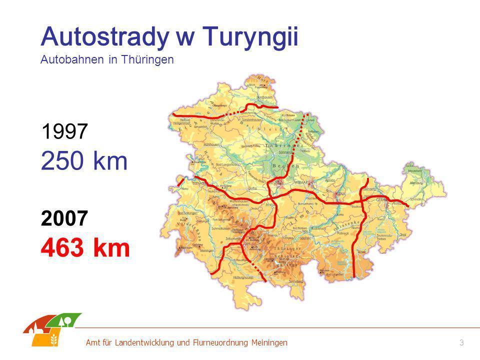 Autostrady w Turyngii Autobahnen in Thüringen 2007 463 km 1997 250 km