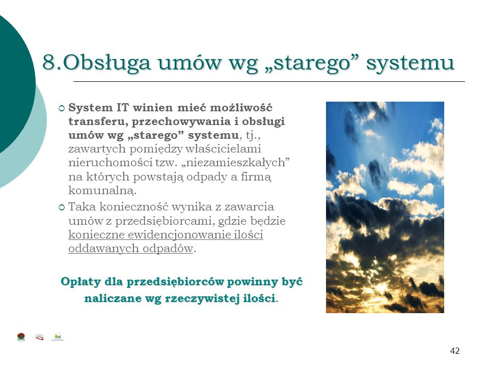 """8.Obsługa umów wg """"starego systemu"""