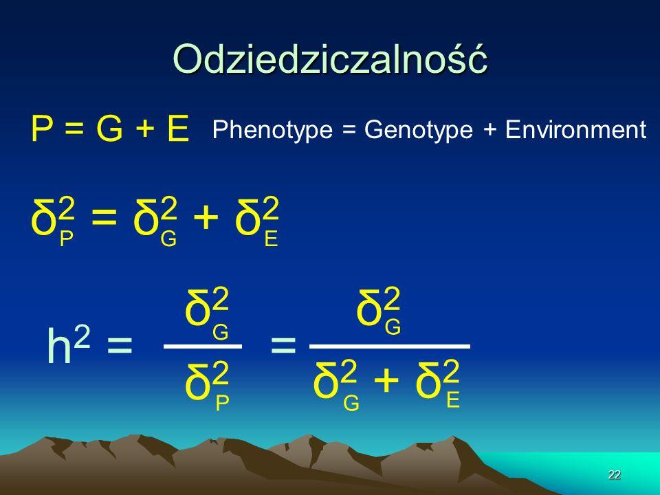 δ2 = δ2 + δ2 δ2 δ2 h2 = = δ2 δ2 + δ2 Odziedziczalność P = G + E