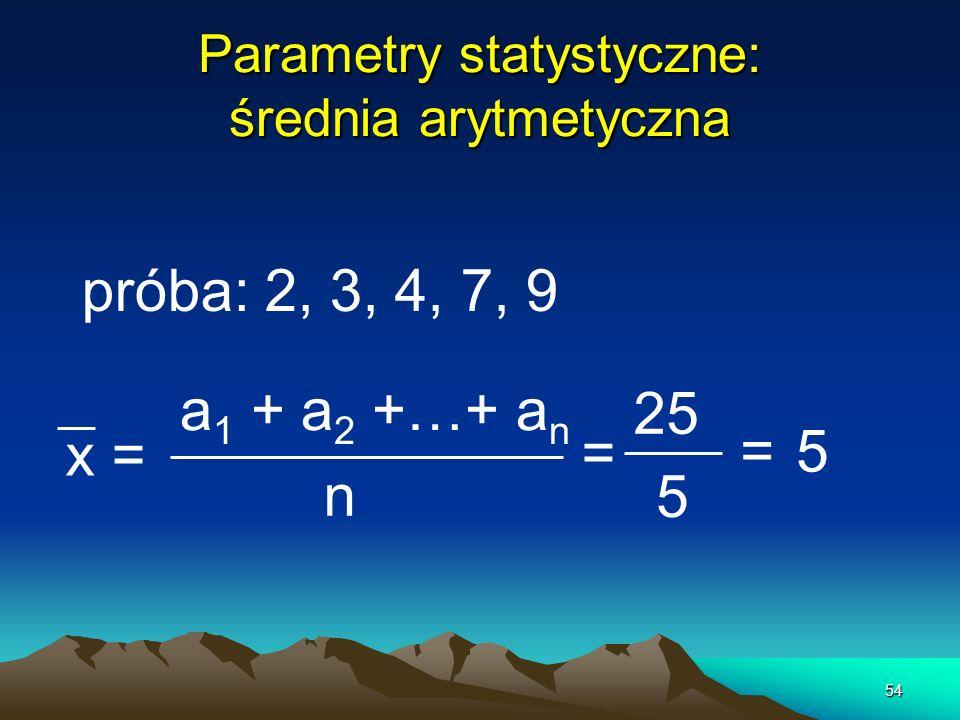 Parametry statystyczne: średnia arytmetyczna