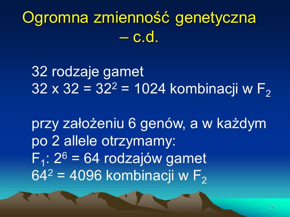Ogromna zmienność genetyczna – c.d.