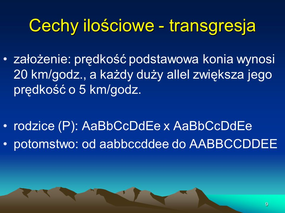 Cechy ilościowe - transgresja