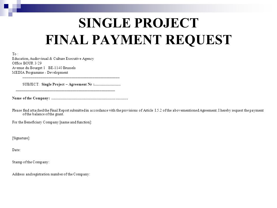 SINGLE PROJECT FINAL PAYMENT REQUEST