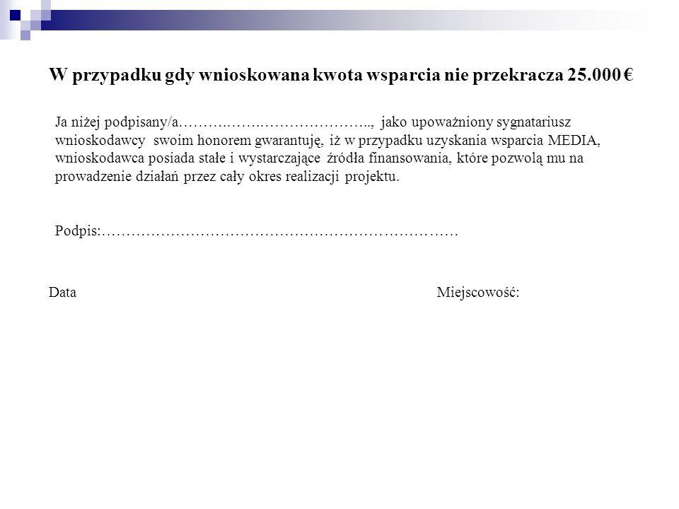 W przypadku gdy wnioskowana kwota wsparcia nie przekracza 25.000 €