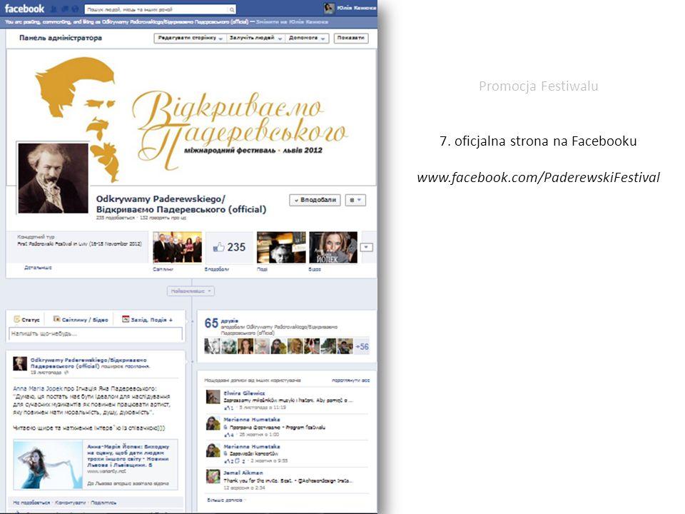 Promocja Festiwalu 7. oficjalna strona na Facebooku www. facebook