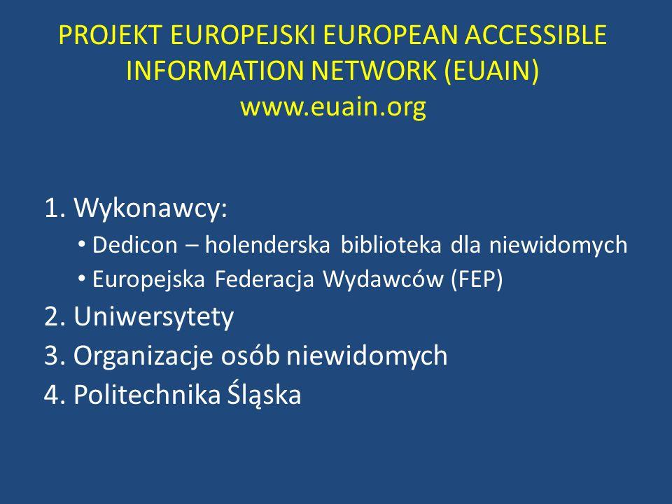 3. Organizacje osób niewidomych 4. Politechnika Śląska