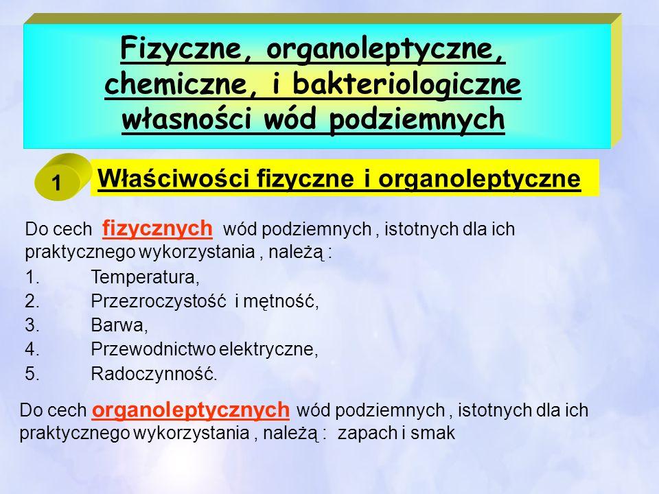 Fizyczne, organoleptyczne, chemiczne, i bakteriologiczne własności wód podziemnych