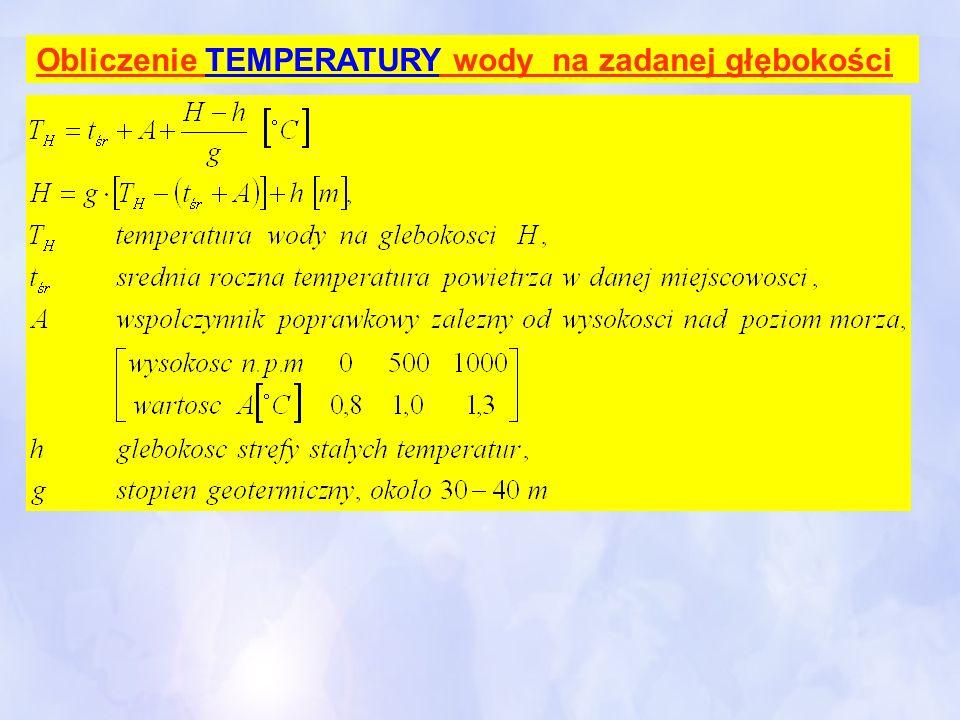 Obliczenie TEMPERATURY wody na zadanej głębokości