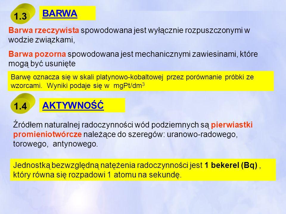 BARWA 1.3. Barwa rzeczywista spowodowana jest wyłącznie rozpuszczonymi w wodzie związkami,