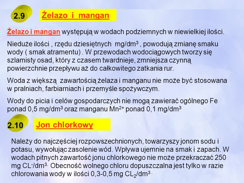 2.9 Żelazo i mangan 2.10 Jon chlorkowy