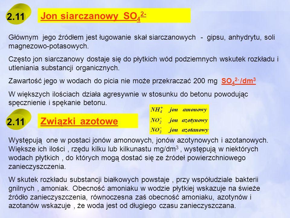 2.11 Jon siarczanowy SO42- Związki azotowe