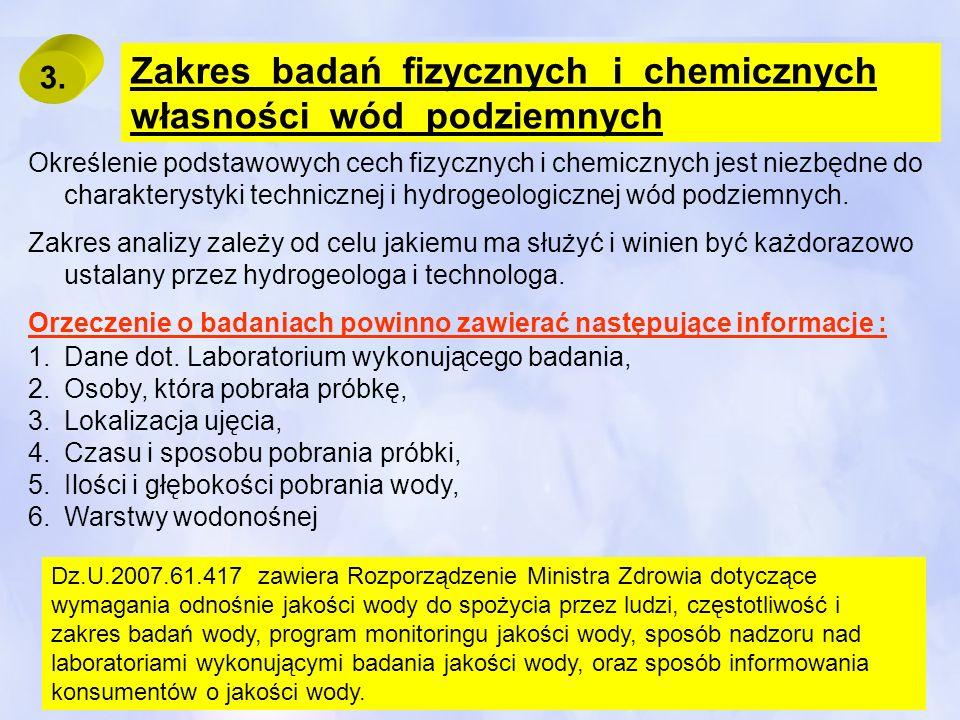 Zakres badań fizycznych i chemicznych własności wód podziemnych