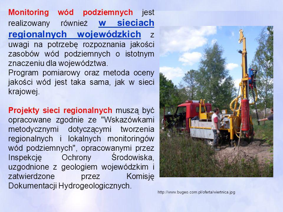 Monitoring wód podziemnych jest realizowany również w sieciach regionalnych wojewódzkich z uwagi na potrzebę rozpoznania jakości zasobów wód podziemnych o istotnym znaczeniu dla województwa.