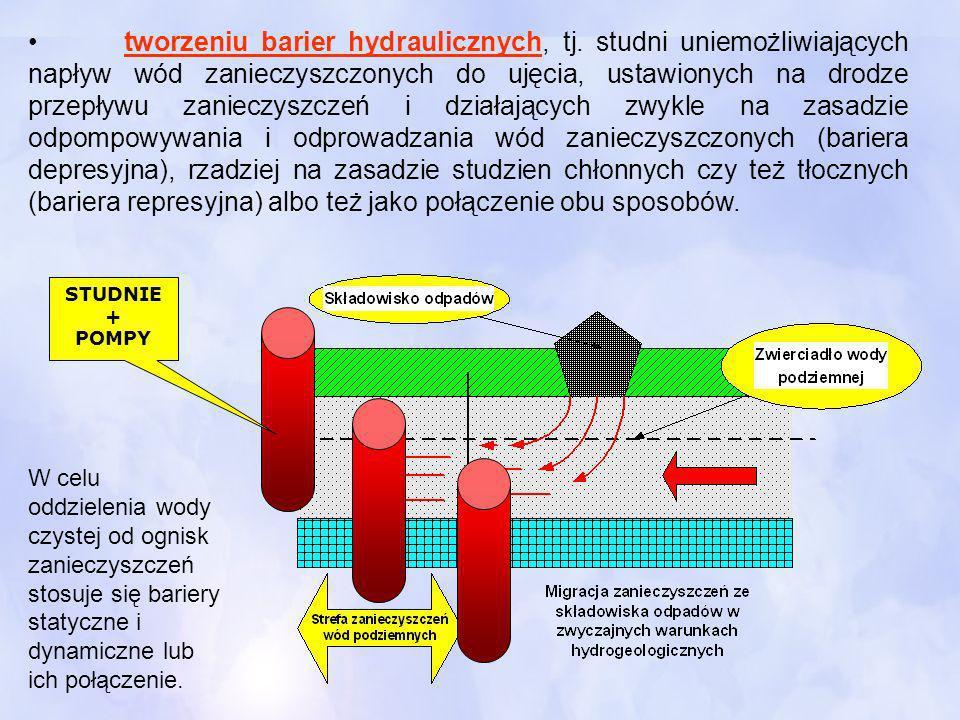 tworzeniu barier hydraulicznych, tj
