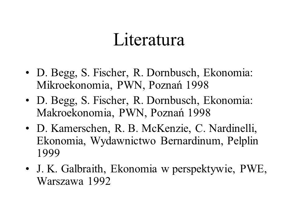 Literatura D. Begg, S. Fischer, R. Dornbusch, Ekonomia: Mikroekonomia, PWN, Poznań 1998.