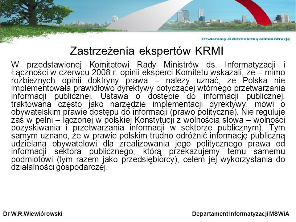 Zastrzeżenia ekspertów KRMI