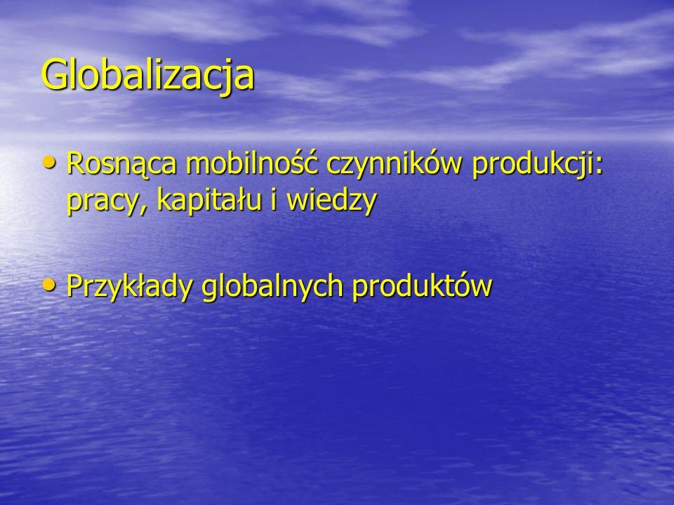 Globalizacja Rosnąca mobilność czynników produkcji: pracy, kapitału i wiedzy.