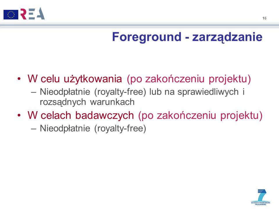 Foreground - zarządzanie