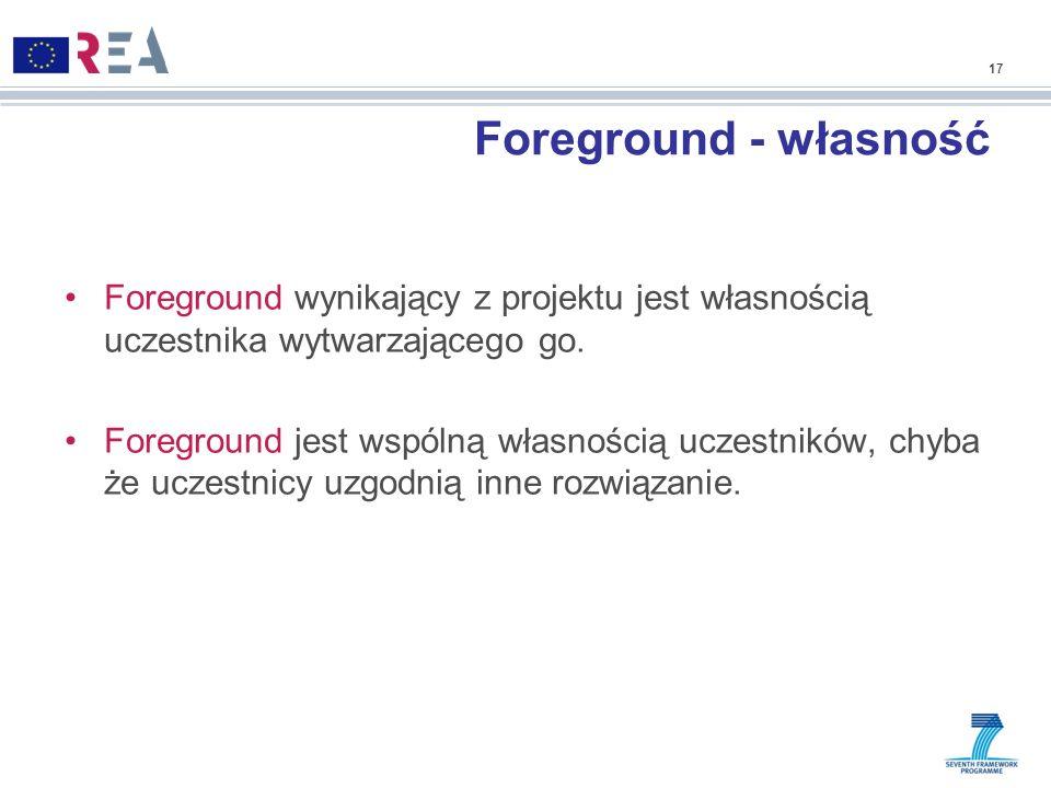 17Foreground - własność. Foreground wynikający z projektu jest własnością uczestnika wytwarzającego go.