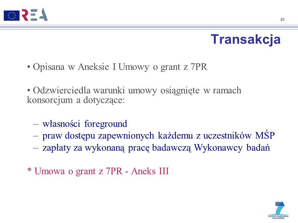 Transakcja Opisana w Aneksie I Umowy o grant z 7PR