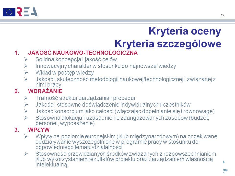 Kryteria oceny Kryteria szczególowe