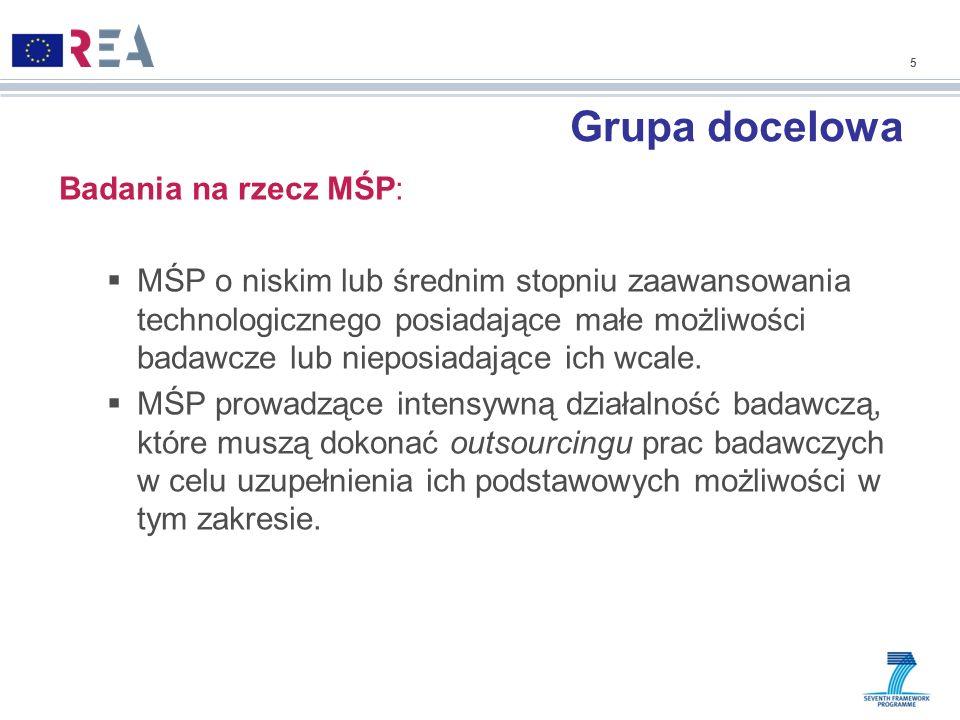 Grupa docelowa Badania na rzecz MŚP: