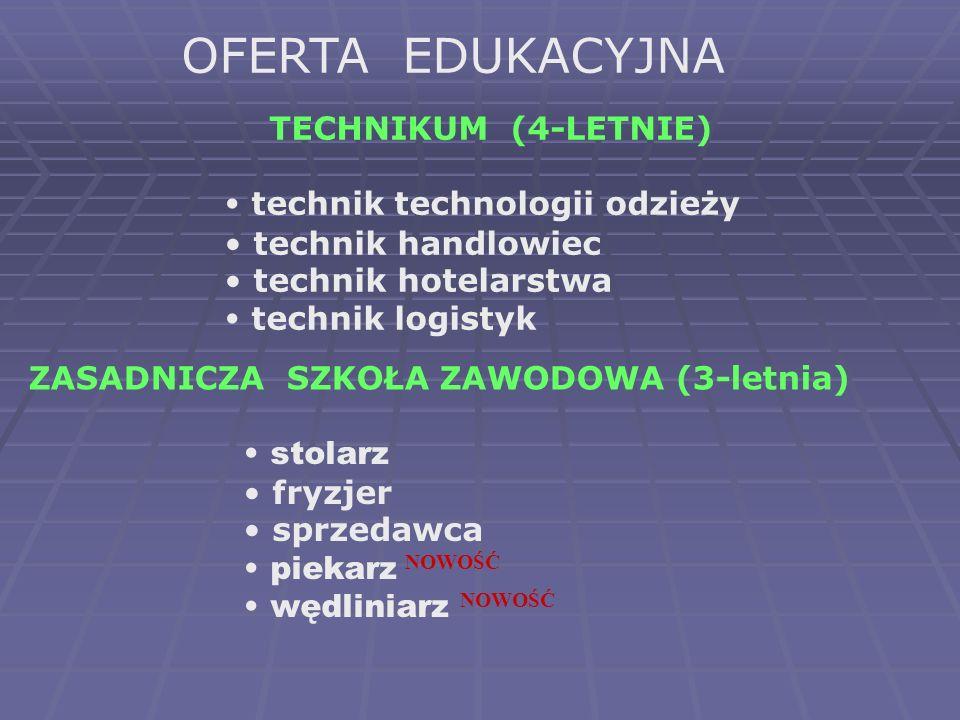 OFERTA EDUKACYJNA TECHNIKUM (4-LETNIE) technik technologii odzieży