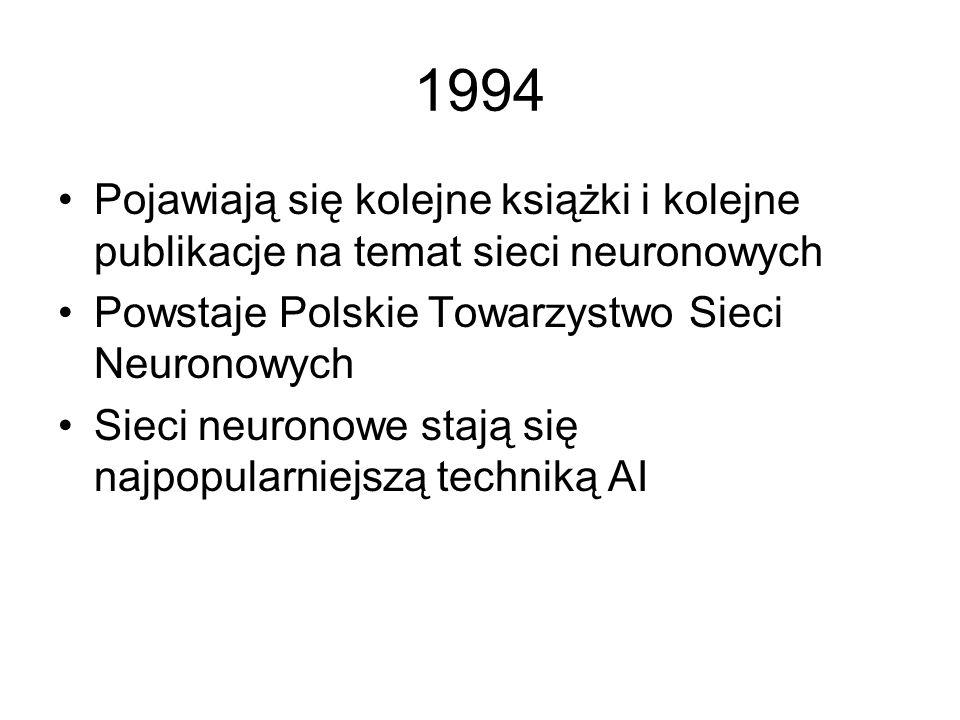 1994 Pojawiają się kolejne książki i kolejne publikacje na temat sieci neuronowych. Powstaje Polskie Towarzystwo Sieci Neuronowych.