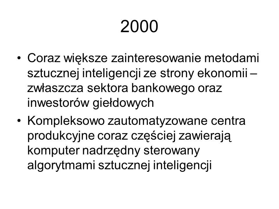 2000 Coraz większe zainteresowanie metodami sztucznej inteligencji ze strony ekonomii – zwłaszcza sektora bankowego oraz inwestorów giełdowych.