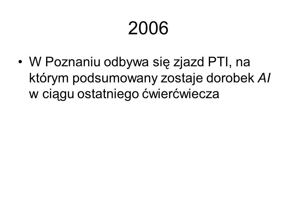 2006W Poznaniu odbywa się zjazd PTI, na którym podsumowany zostaje dorobek AI w ciągu ostatniego ćwierćwiecza.