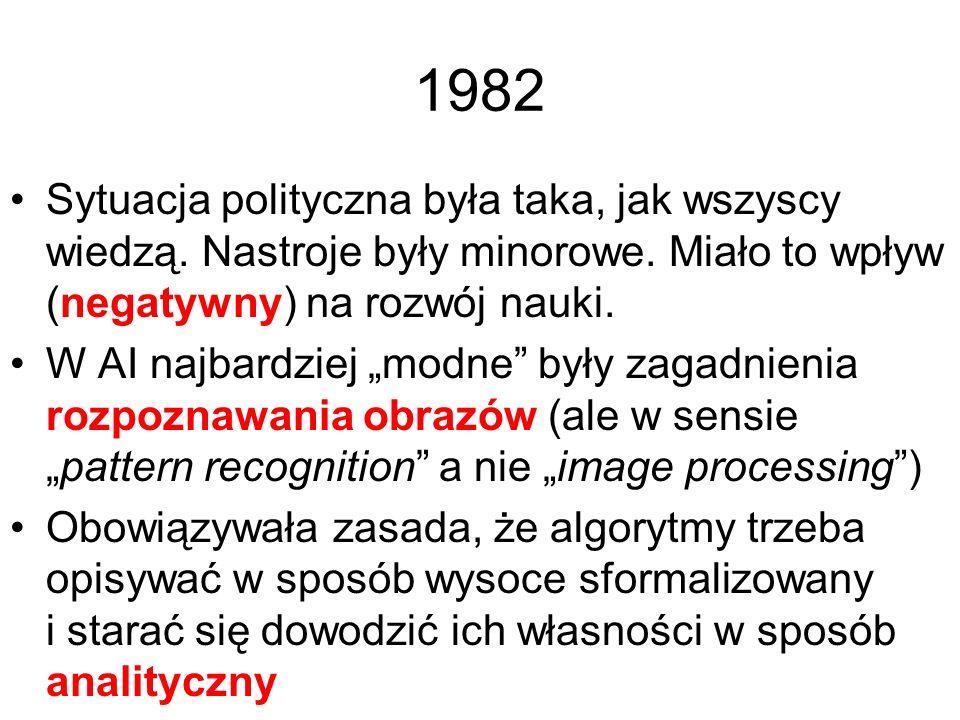 1982 Sytuacja polityczna była taka, jak wszyscy wiedzą. Nastroje były minorowe. Miało to wpływ (negatywny) na rozwój nauki.