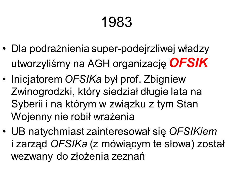 1983 Dla podrażnienia super-podejrzliwej władzy utworzyliśmy na AGH organizację OFSIK.