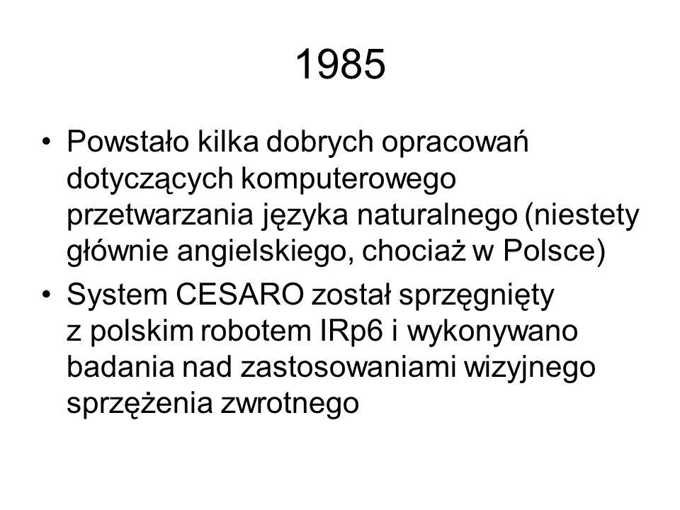 1985 Powstało kilka dobrych opracowań dotyczących komputerowego przetwarzania języka naturalnego (niestety głównie angielskiego, chociaż w Polsce)
