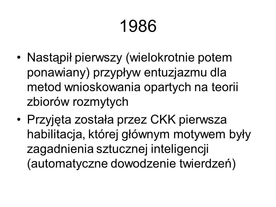 1986Nastąpił pierwszy (wielokrotnie potem ponawiany) przypływ entuzjazmu dla metod wnioskowania opartych na teorii zbiorów rozmytych.