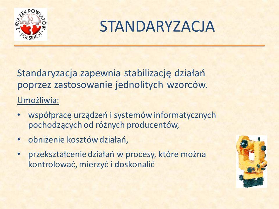 STANDARYZACJA Standaryzacja zapewnia stabilizację działań poprzez zastosowanie jednolitych wzorców.