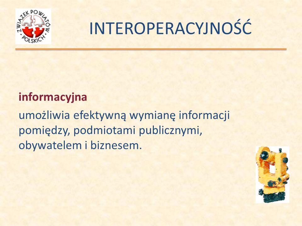 INTEROPERACYJNOŚĆinformacyjna umożliwia efektywną wymianę informacji pomiędzy, podmiotami publicznymi, obywatelem i biznesem.