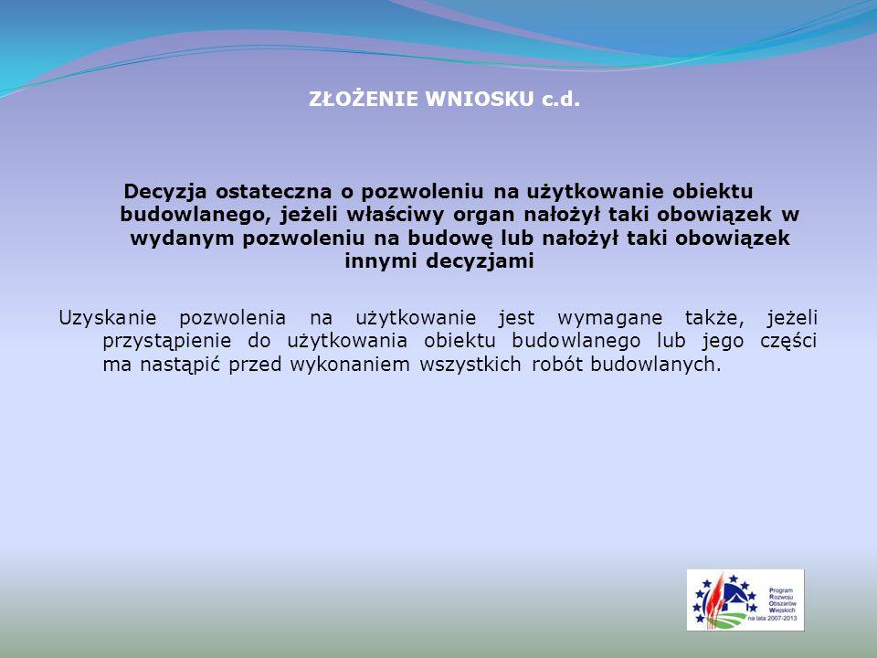 ZŁOŻENIE WNIOSKU c.d.