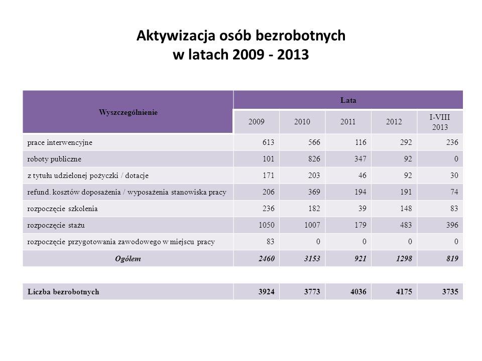 Aktywizacja osób bezrobotnych w latach 2009 - 2013