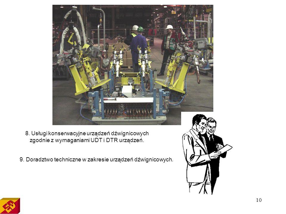 8. Usługi konserwacyjne urządzeń dźwignicowych