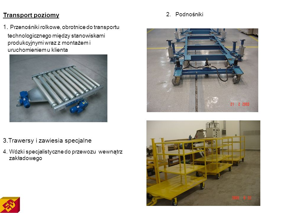 1. Przenośniki rolkowe, obrotnice do transportu