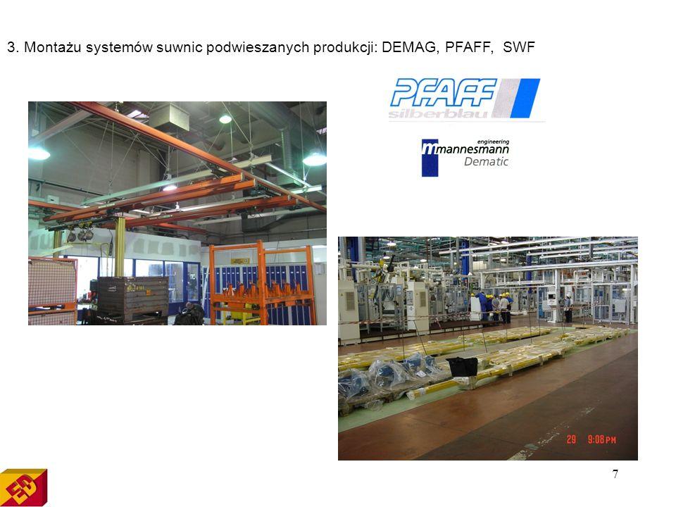 3. Montażu systemów suwnic podwieszanych produkcji: DEMAG, PFAFF, SWF