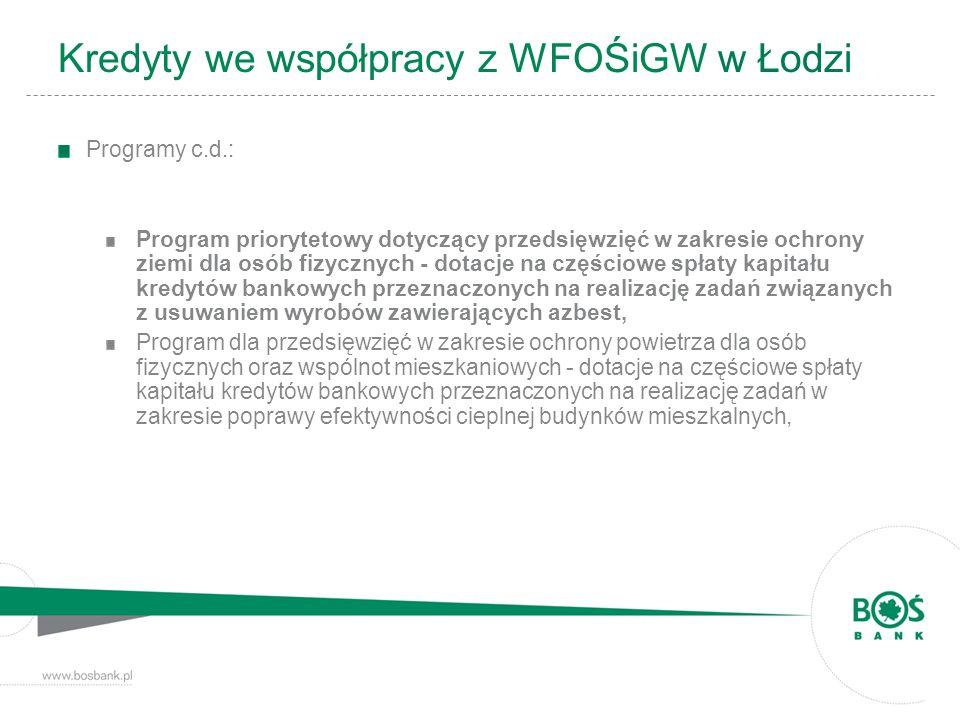Kredyty we współpracy z WFOŚiGW w Łodzi