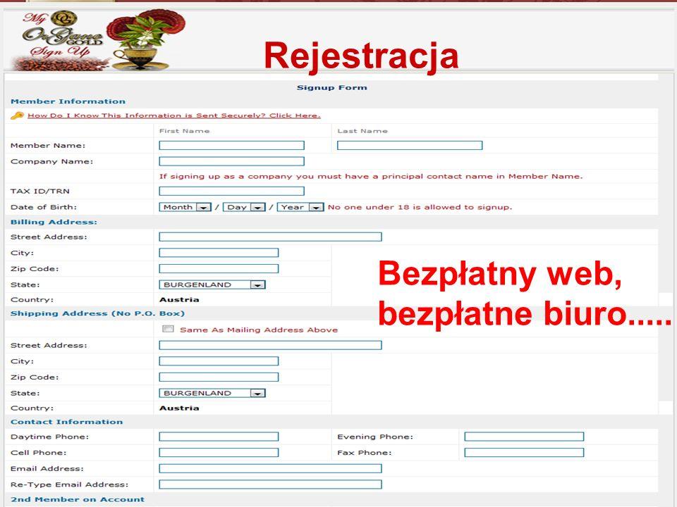 Rejestracja Bezpłatny web, bezpłatne biuro.....
