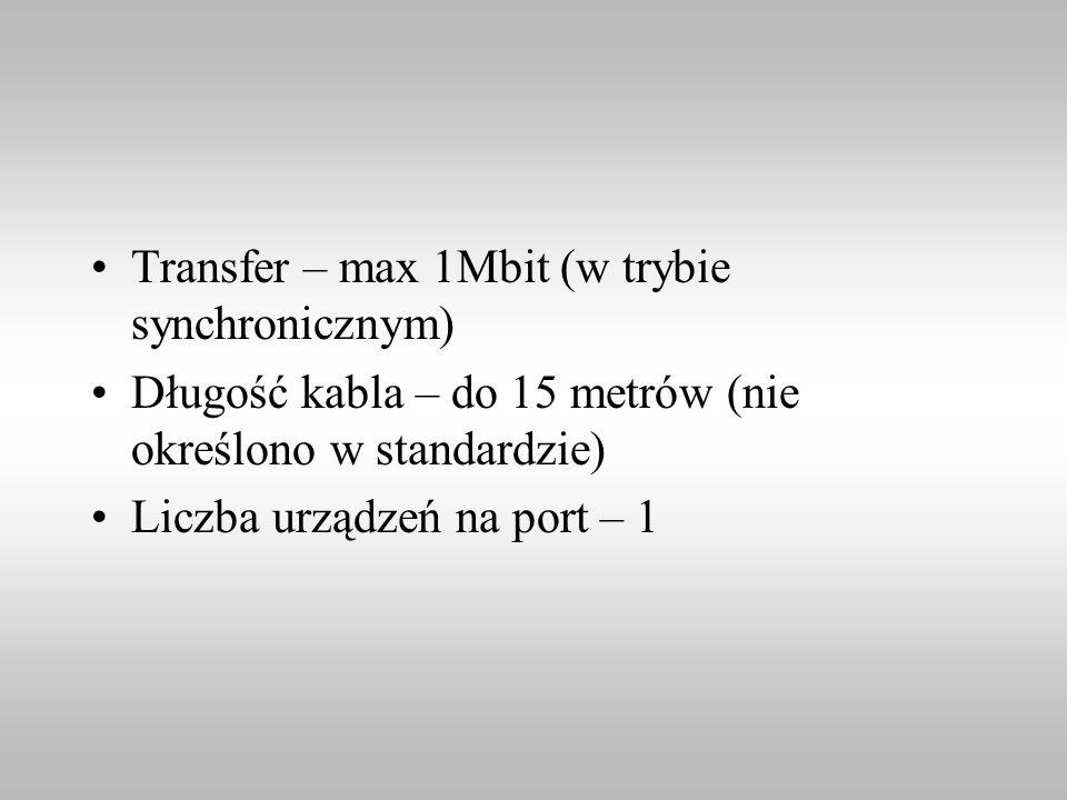 Transfer – max 1Mbit (w trybie synchronicznym)