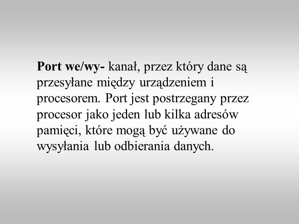 Port we/wy- kanał, przez który dane są przesyłane między urządzeniem i procesorem.