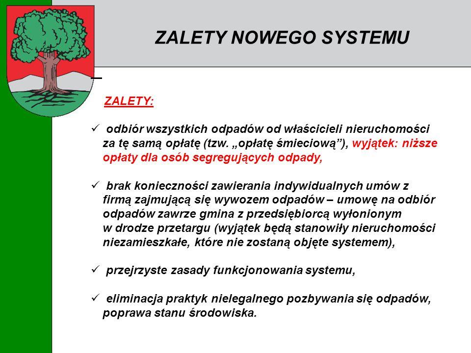 ZALETY NOWEGO SYSTEMU ZALETY: