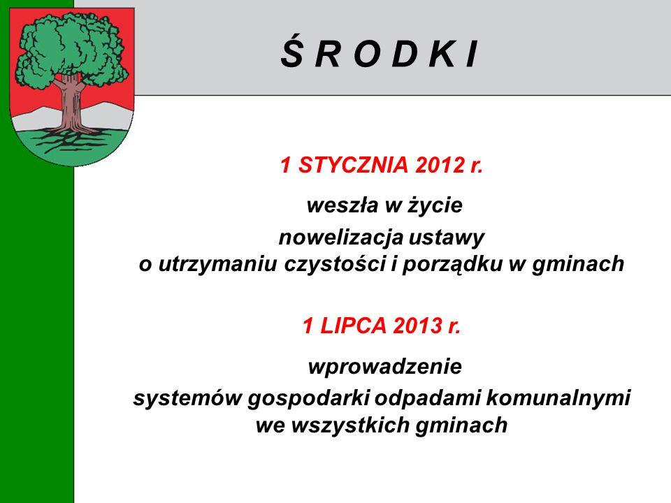Ś R O D K I 1 STYCZNIA 2012 r. weszła w życie