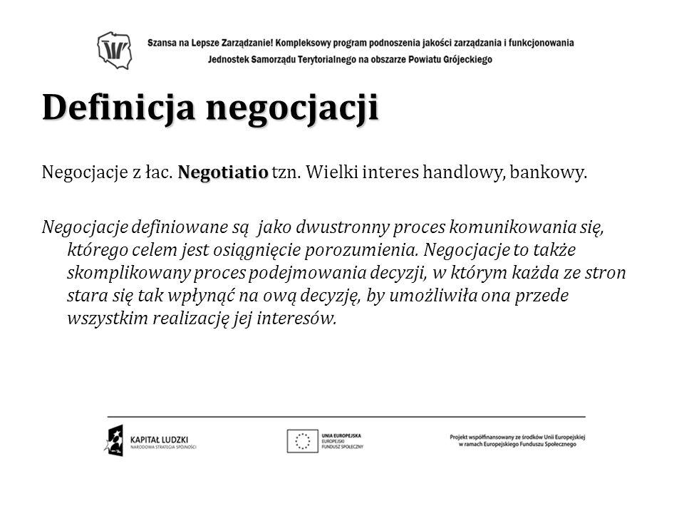 Definicja negocjacjiNegocjacje z łac. Negotiatio tzn. Wielki interes handlowy, bankowy.